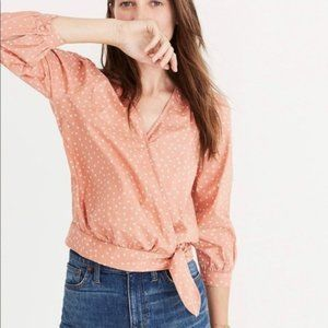 Madewell Coral Star Scatter Wrap Tie Crop Top
